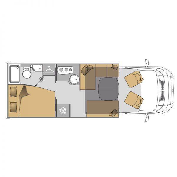 Wohnmobil TEI-71FBH Grundriss Konfigurator
