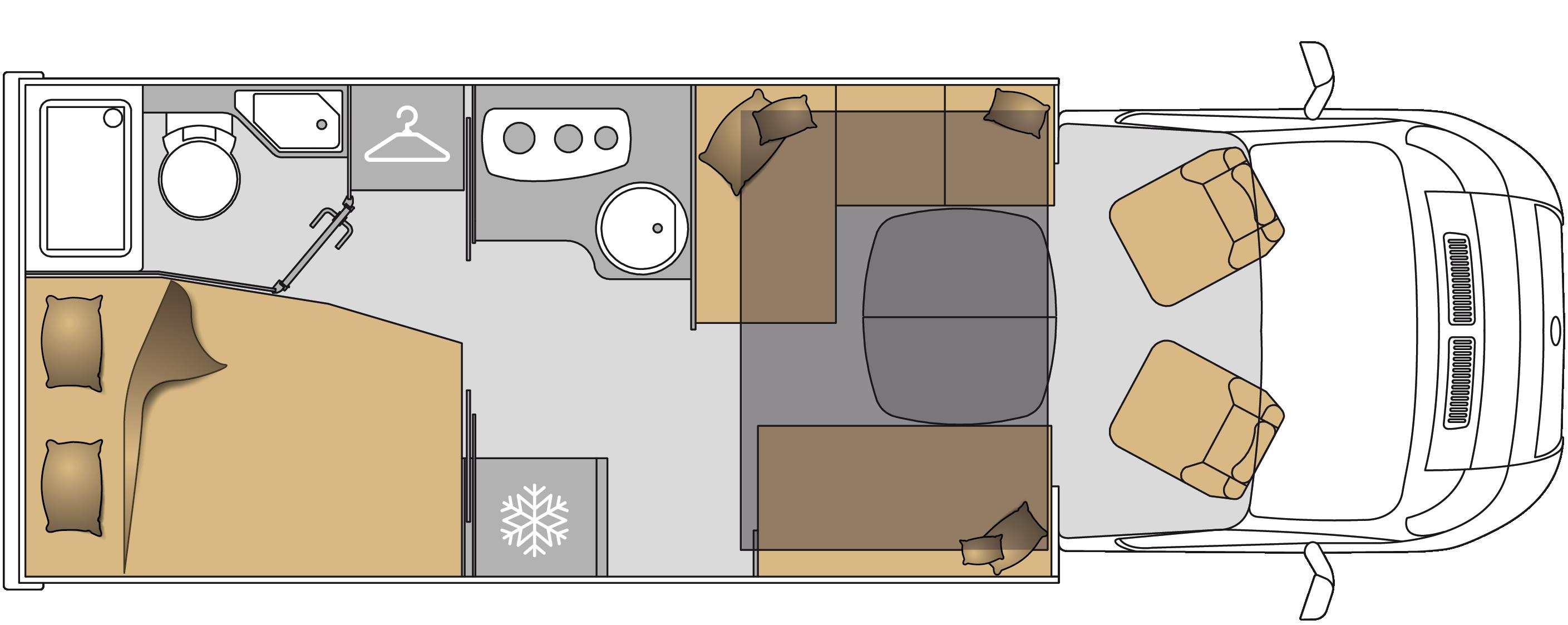 Wohnmobil TEI-71FBH Grundriss